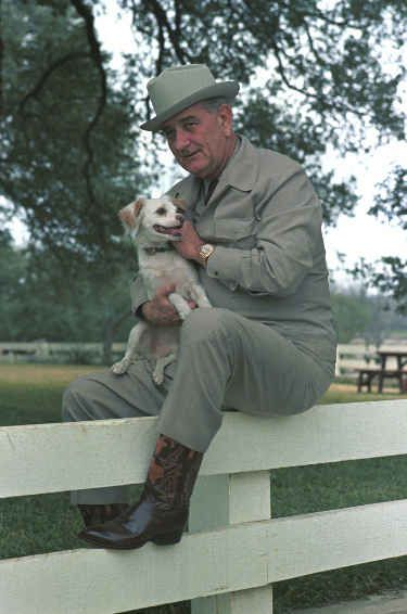 Lyndon B. Johnson and Yuki pose for a photo on a fence:   The 42 Best Photos Ever Taken Of White House Pets