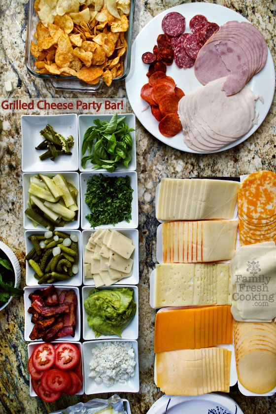 LOVE THIS! Grilled Cheese Party Bar. Delight guests with made to order creations! FamilyFreshCooking.com