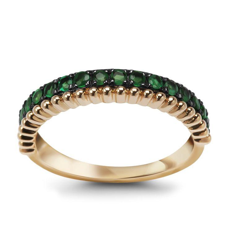 Złoty pierścionek ze szmaragdami