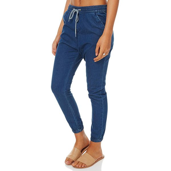 Womens Roxy Albane Womens Pant Blue Cotton ($59) ❤ liked on Polyvore featuring pants, blue, jogger pants, women, elastic waist pants, elastic ankle pants, jogger trousers, elastic cuff pants and elastic waistband pants