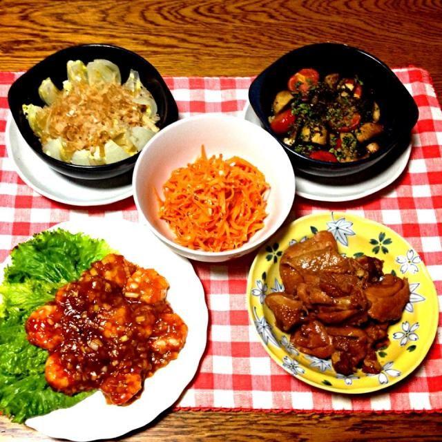 新玉ねぎでなくても、美味しくいただきました。 - 47件のもぐもぐ - chiekoさんの新玉の丸ごとレンジ蒸し・マッシュルームのアヒージョ・ニンジンナムル・鶏のさっぱり煮・エビチリ by 美也子