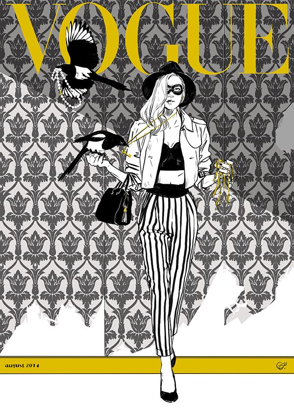 """Thieving magpies for Vogue. by Caterina Ferrante, via Behance  THE THIEVING MAGPIE SENSE OF FASHION. I always thought that the Berta (a regional italian name for the """"gazza ladra"""" aka the thieving magpie) could be the height of fashion.  More than a cheetah on a golden leash, more than tea cup pigs in high couture tailored salopette. Just perfect for a Bazaar or Vogue cover.  I mean, look at that perfect black and white coat!"""