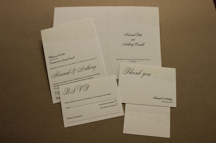 Invitation, RSVP, thank you, order of service cover and place card.