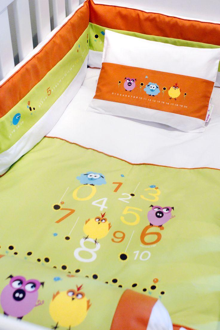 Counting Pigs Linen #boy#girl#linen#nursery#ideas#babeliciousdecor#orange#green#colourful#cute