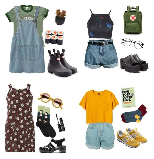 """aesthetic pt 2"" by mikaela-obrien on Polyvore featuring Retrò, Chicnova Fashion, Hunter, Lux-Art Silks, Fjällräven, Dorothy Perkins, HOT SOX, NARS Cosmetics, Monki and New Balance"