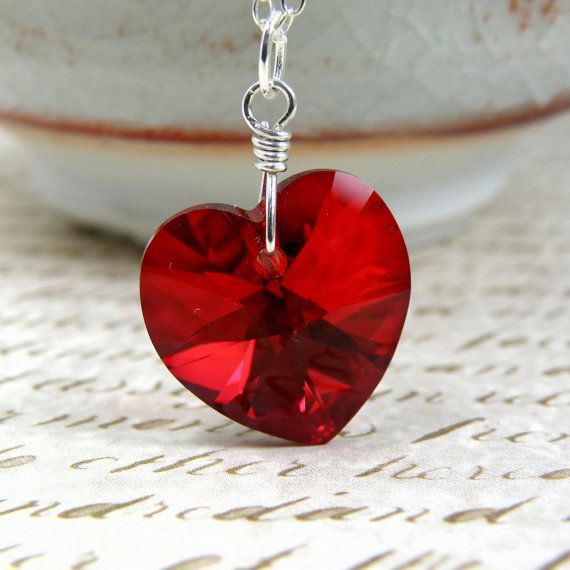 Red Heart Necklace, Blood Red Pendant, Crimson Red Swarovski Crystal, Sterling Silver, Wedding Handmade Jewelry Valentine Gift Ready to Ship
