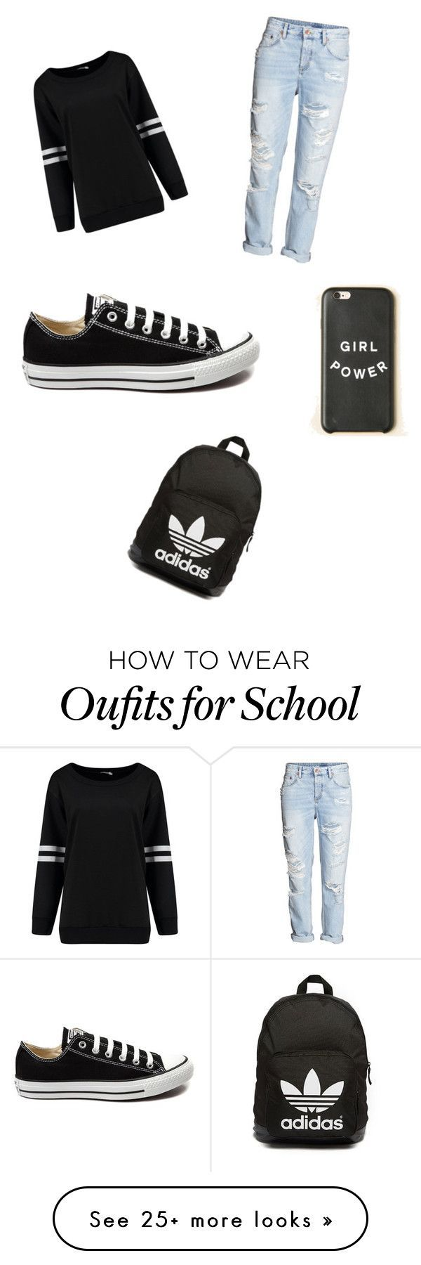 """school outfit"" by zasad on Polyvore featuring H&M, Converse, adidas Originals, women's clothing, women, female, woman, misses and juniors"