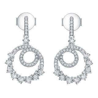 Prism Jewel 0.65Ct Round G-H/SI1 Natural Diamond Drop Dangle Twisted Earring