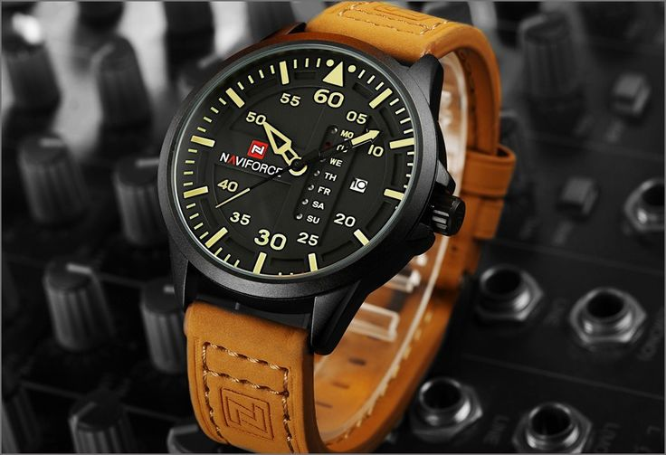 Mens Watches Top Brand Luxury NAVIFORCE Quartz Watch Men Sport Military Clock Male Leather Strap Wristwatch Relogio Masculino - Online Shopping for Watches