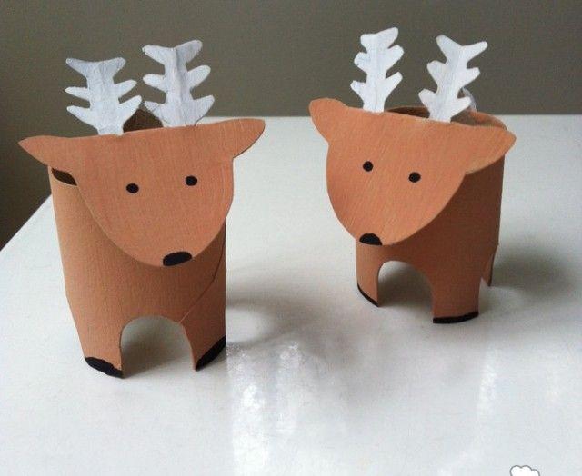 Giochi fai da te per bambini con il riciclo creativo: renne con rotoli di carta igienica | Foto