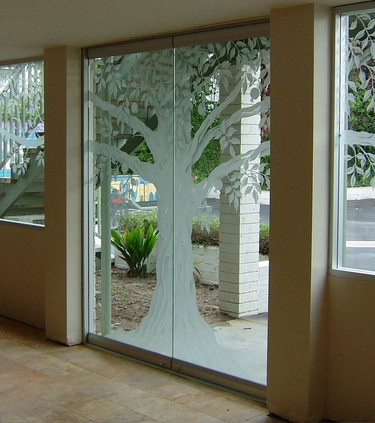 Glass doors frameless entry doors frosted glass tree for Glass etching designs for doors