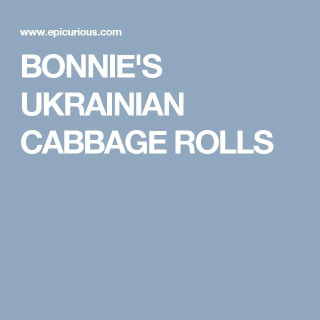 BONNIE'S UKRAINIAN CABBAGE ROLLS