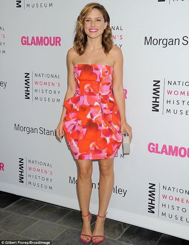 Flirty fun: Sophia Bush went for a strapless summery frock when she was honoured at the Women Making History Brunch held by the National Women's History Museum and Glamour Magazine