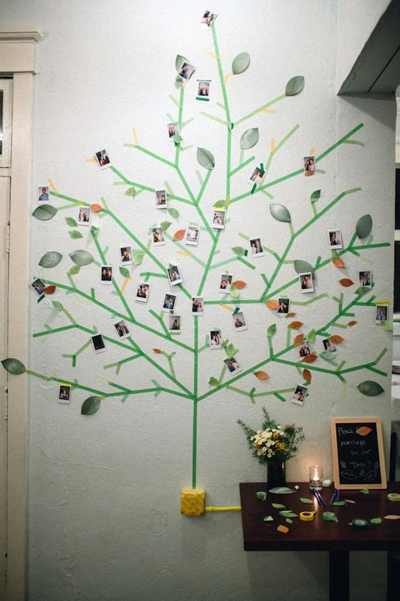 Creative photo guestbook idea - wasabi tape tree! From Misato & Chris' quirky, handmade Northern Virginia wedding at a coffee shop. Images by Love By Serena