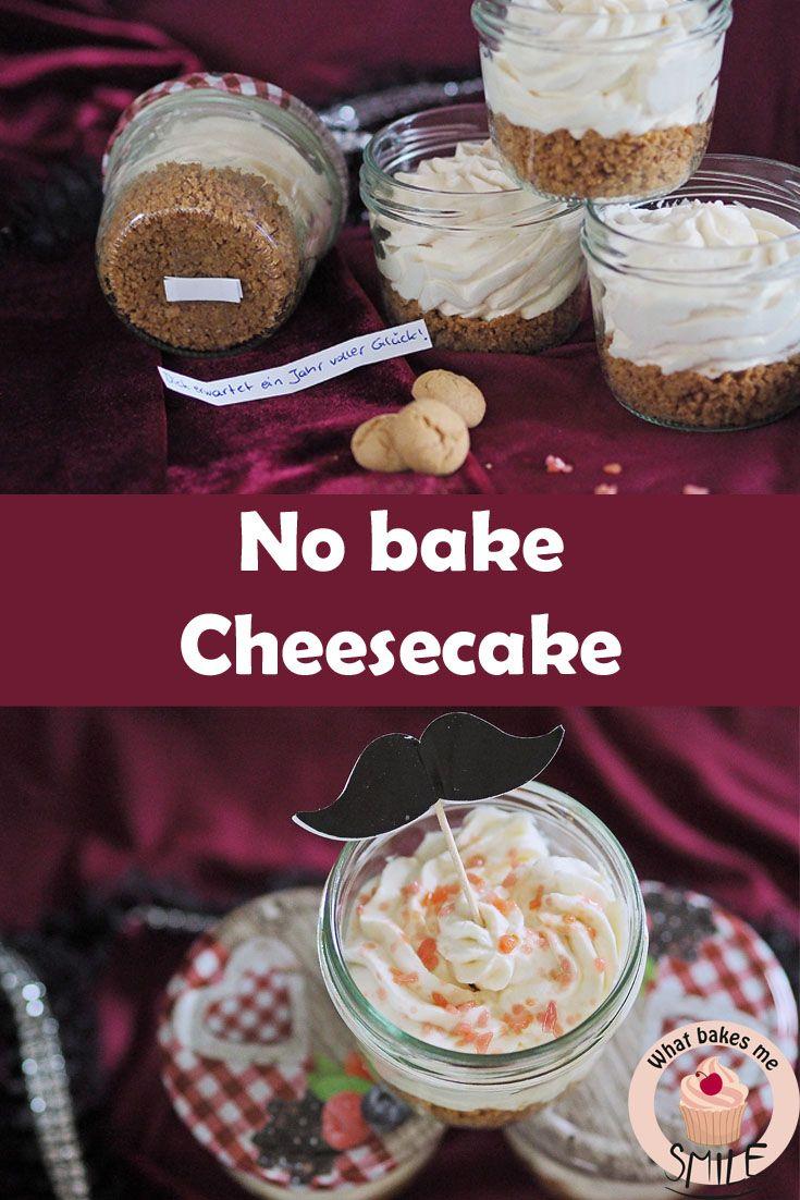 Einfaches, schnelles Dessert. No bake Cheesecake mit Amarettiniboden und Silvestertwist