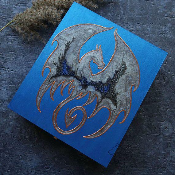 Dragon jewelry box hand painted dragon gamer trunk jewellery