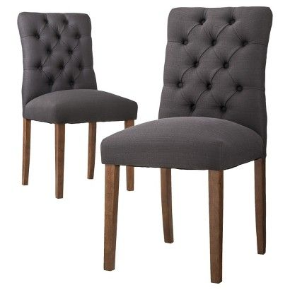 Threshold™ Brookline Tufted Dining Chair - Set of 2 THese would look great with a farmhouse table.