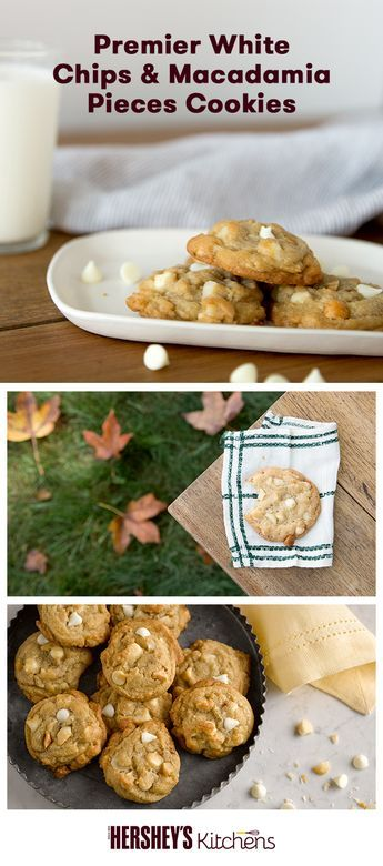 This holiday season, bake a batch of our Premier White Chips & Macadamia Pieces Cookies. Made with HERSHEY'S Kitchens Premier White Chips, this easy recipe is wonderful for the winter. The whole family will love these in your Christmas cookie collection.