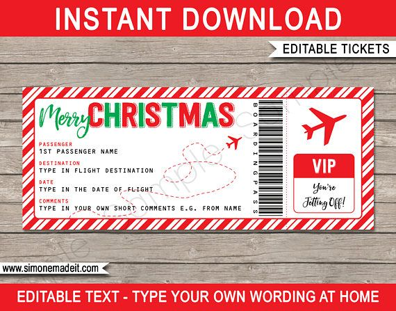 Christmas Gift Plane Ticket - Surprise Trip - Getaway - Holiday - Printable Boarding Pass - INSTANT DOWNLOAD with EDITABLE text - you edit