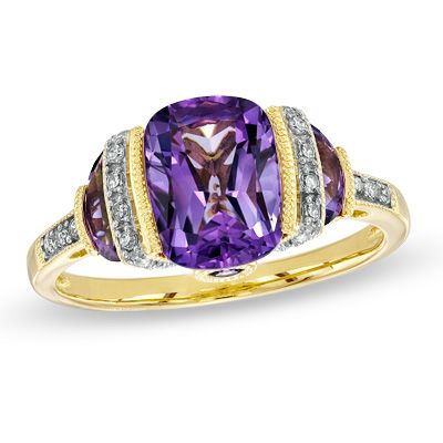 Zales Pear-Shaped Amethyst Ring in Hammered Sterling Silver with 14K Gold Plate - Size 7 MTuiDtZQCN