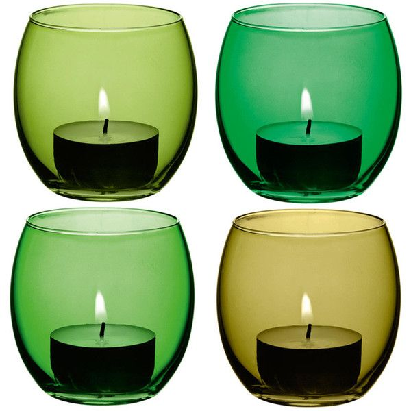 LSA International Coro Assorted Tealight Holders - Set of 4 - Leaf ($24) ❤ liked on Polyvore featuring home, home decor, candles & candleholders, candles, fillers, green, other, handmade candles, green candles and leaf candles