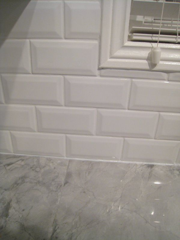 Beveled subway tile interior groupie kitchen reveal Backsplash or no backsplash