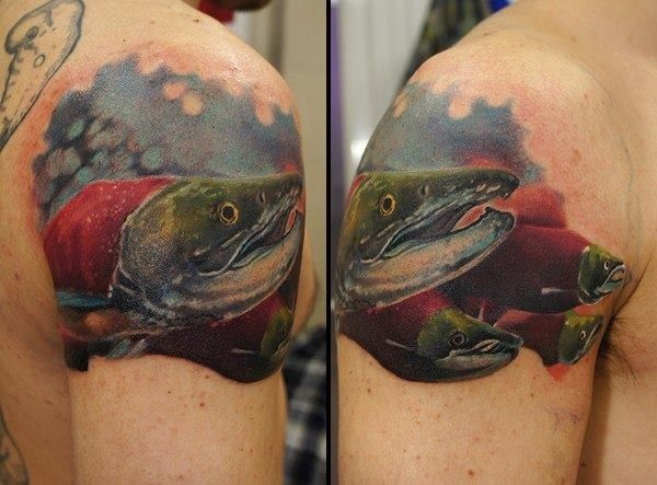 tattooed steelhead salmon tattoo ideas for me pinterest salmon. Black Bedroom Furniture Sets. Home Design Ideas
