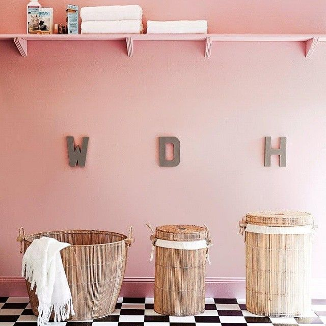 Organise your laundry baskets with wall-hung letters or decals. Label with initials or have two baskets for whites and darks. #30dayclutterfree #yourhomeandgarden #organiseyourhome