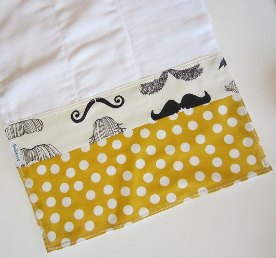 Mustache Baby Burpcloth - Baby Boys Burpcloths / Mustard Yellow Black Baby / Custom Gift Sets