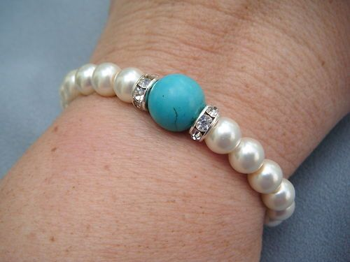 Tourquoise Bead and Faux Pearl Stretch Bracelet With Clear Rhinestone Accents