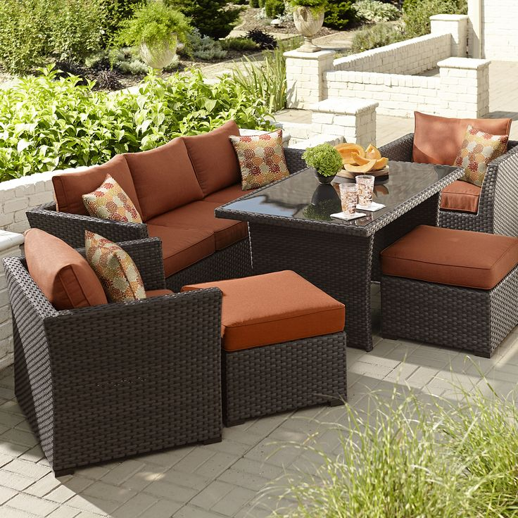 grand resort bedford 6 piece seating set with casual height coffee table https