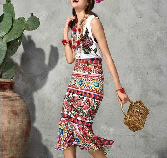 2017 Occident Fashion Cotton Sequins T-Shirt+Printing Fishtail Skirt Trendy Suit