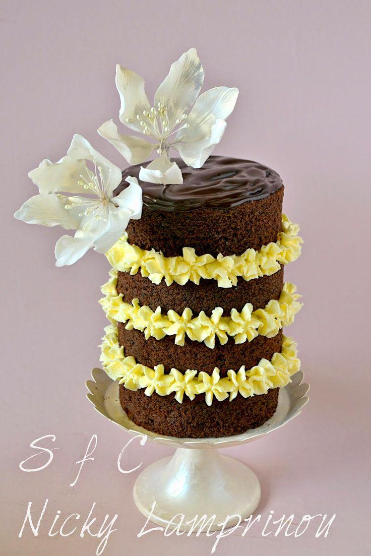 Sugar flowers Creations-Nicky Lamprinou: Naked Chocolate cake - Το απόλυτο σοκολατένιο κέικ