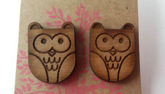 Wooden Earrings  Owl earrings  wood jewellery  animal jewelry  animal lover jewellery  wildlife  gift for her  sister gift  present for wife