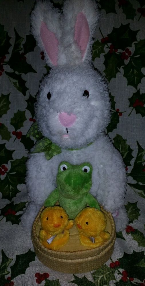 """Thanks for your interest!! We proudly offer this EXCELLENT USED CONDITION and with original tush tags Hallmark Cards 'Spring Quartet'. It plays """"At The Hop"""" ~ this very fun white rabbit with 2 chicks and a frog in the basket is approx."""