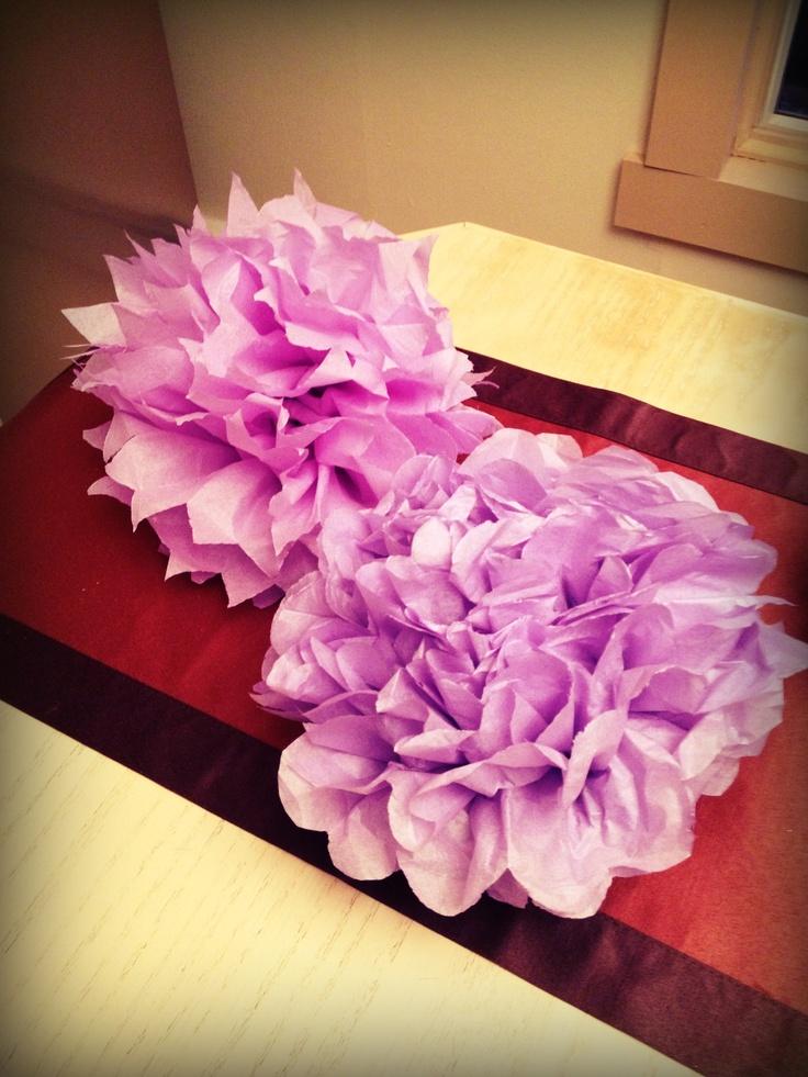 Tissue Pom poms . Purple party decorations DIY
