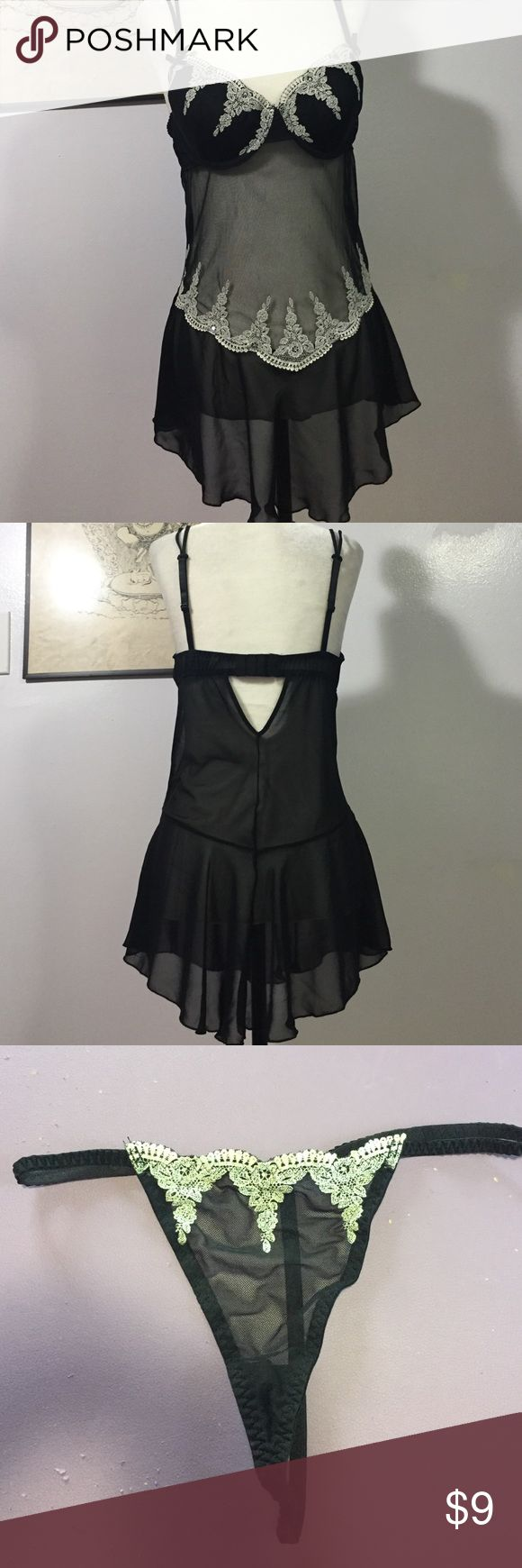 Delicates Lingerie Set- Med Lovely black nylon with white lace teim & a hint of sparkle! Twin adjustable spaghetti straps & back closure- excellent condition 💜 Delicates Intimates & Sleepwear