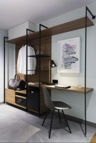 Puro hotel. Integrated desk and open closet #wardrobe #desk                                                                                                                                                      More