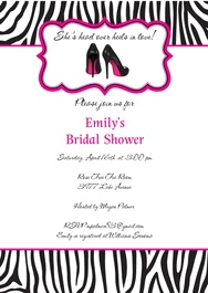 Zebra Bridal Shower Invitations