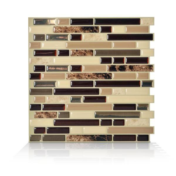 Smart Tiles Bellagio Keystone Beige 10 06 In W X 10 In H Peel And Stick Self Adhesive Decorative Mosaic Wall Tile Backsplash Sm1034 1 The Home Depot Smart Tiles Decorative Tile Backsplash