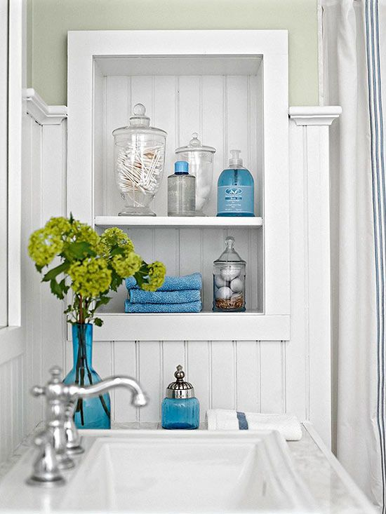 Bathroom Decor - Apothecary jars for pretty storage. Turquoise accents