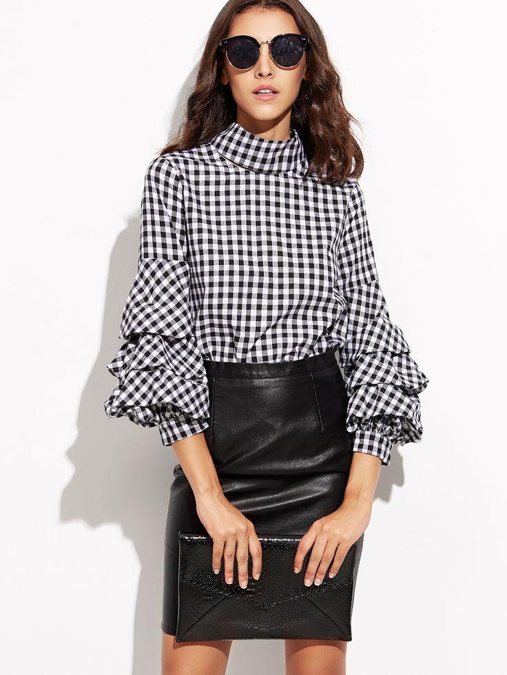 Shop Black Gingham Cutout High Neck Billow Sleeve Top online. SheIn offers Black…