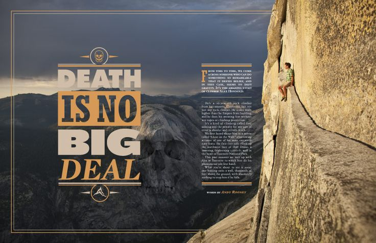 This spread probably targets young readers. The style is reminiscent of the inspirational quotes over landscapes commonly featured on tumblr and young adult wall decor. The basic, almost understated alignment in two columns places more emphasis on the headline and the imagery to grab attention.