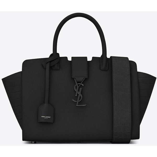 Saint Laurent Baby Monogram Saint Laurent Downtown Cabas Ysl Bag (2,230 CAD) ❤ liked on Polyvore featuring bags, handbags, shoulder bags, crocodile purse, crocodile leather handbags, leather shoulder bag, leather shoulder handbags and monogrammed leather purse