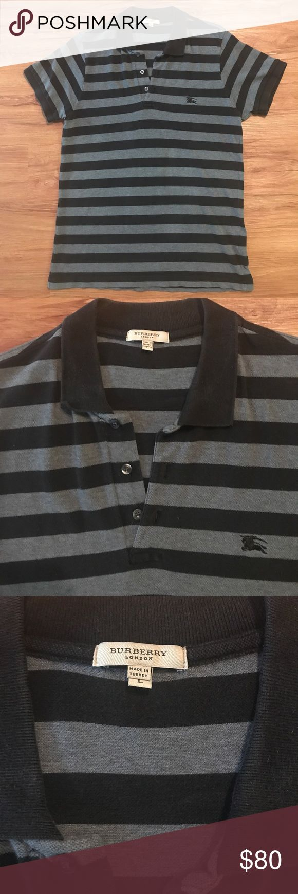 Burberry Stripe Polo Shirt Men's Burberry Black and Grey Polo Shirt. Size: Large. Excellent Condition! Burberry Shirts Polos