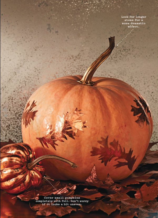 Elegant Copper Leaf Pumpkins and gourds will last all the way through Thanksgiving and look great on your dining room table.