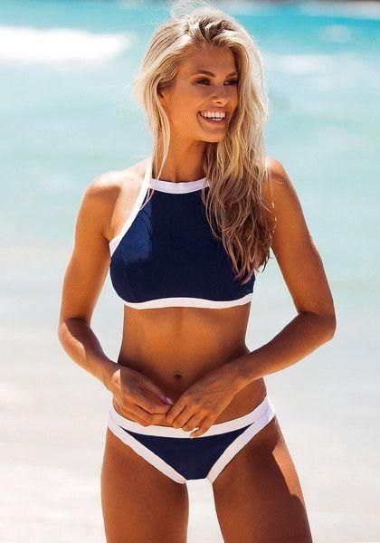 Go for that sporty chic look this summer with the help of this dark blue high-neck bikini set. Swimwear // LILLYCLOSET.COM DETAILS: Contrast bandageSelf-tie