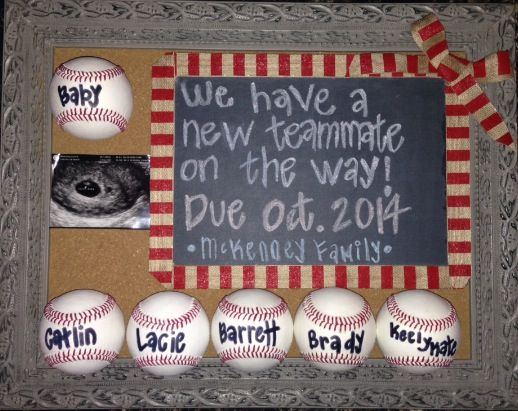 Sports Prego Announcement. Baseball. McKenney Family. 2014. :))))