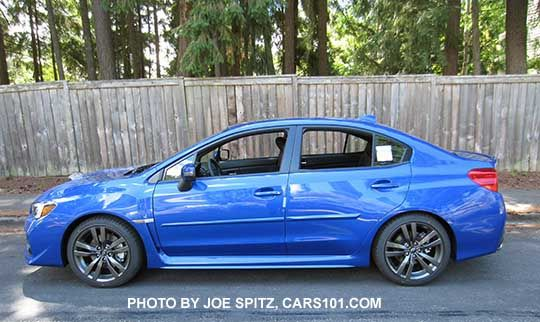 side view 2016 Subaru WRX Limited,  WRBlue color shown, with optional side moldings