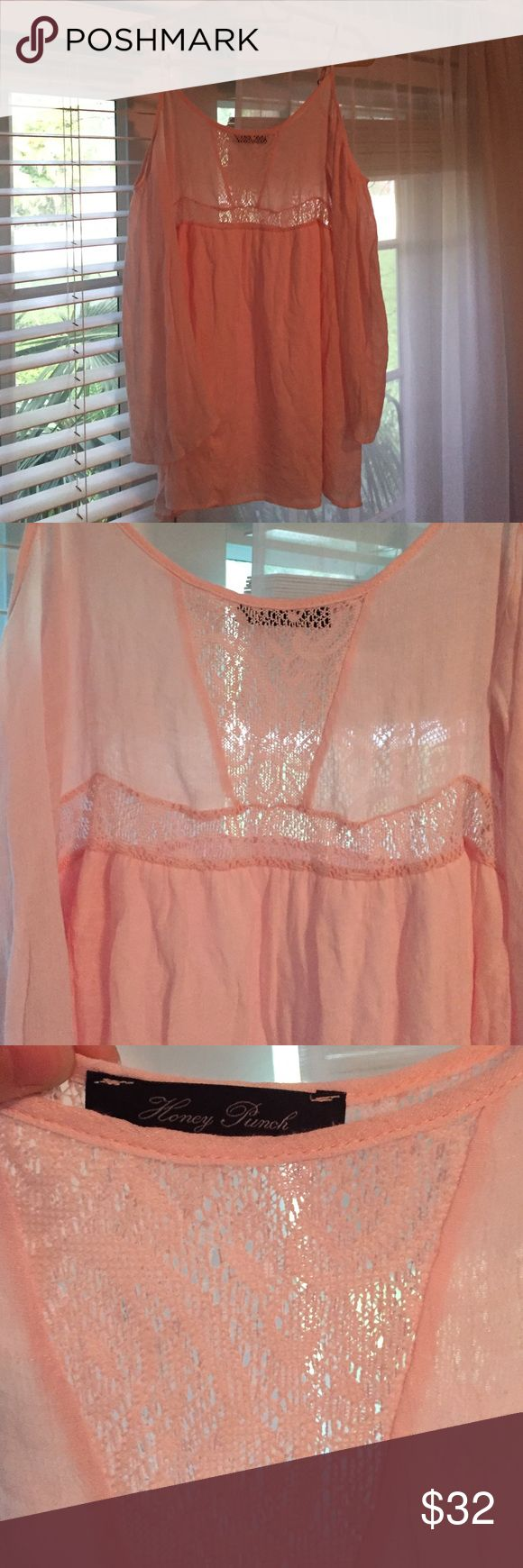🌸Blush Boho Long sleeve dress🌸 Long sleeve dress, off the shoulder, ordered from nasty gal. Needs to be steamed or ironed but other than that in impeccable condition (worn once). Features crochet lace cutout detail, cold shoulder design and adjustable spaghetti straps. Unlined. It's by Nasty Gal but Sabo skirt is tagged for preference/exposure Sabo Skirt Dresses Long Sleeve